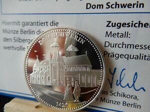 Vente Pas Cher Argent Médaille-dom Schwerin - 1000 Ans De Mecklembourg-poméranie Occidentale-rpommern Fr-fr Afficher Le Titre D'origine