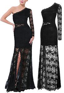 Vestito-Lungo-Pizzo-Donna-Una-Manica-Woman-Lace-Maxi-Dress-One-Sleeve-110140