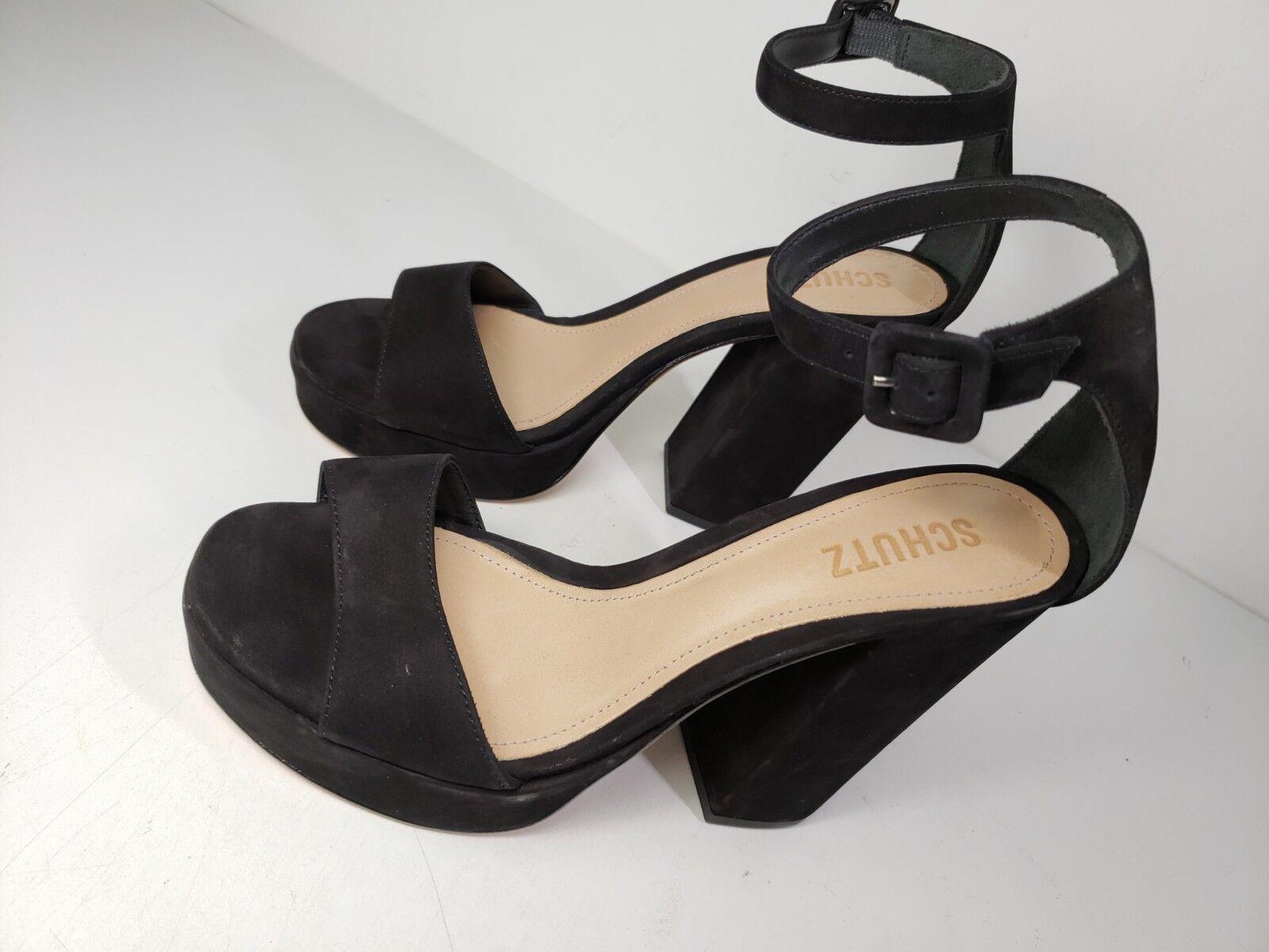 198 198 198 Dimensione 9 SCHUTZ Mikella nero Leather Heel Platform Ankle Strap donna Sandals e84653