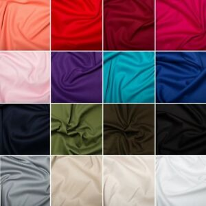 UK SELLER N6 Sold by the metre Ideal for tailoring Plain Red cotton stretch sateen fabric