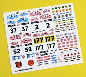 Corgi Rally Mini Monte Carlo etc Rally sticker decal reproductions, 43rd scale