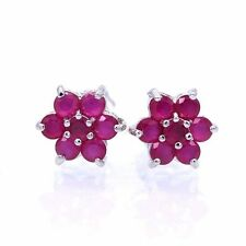 Elegant Lady Jewelry Red Ruby White Gold Plated Stud Earring for Women