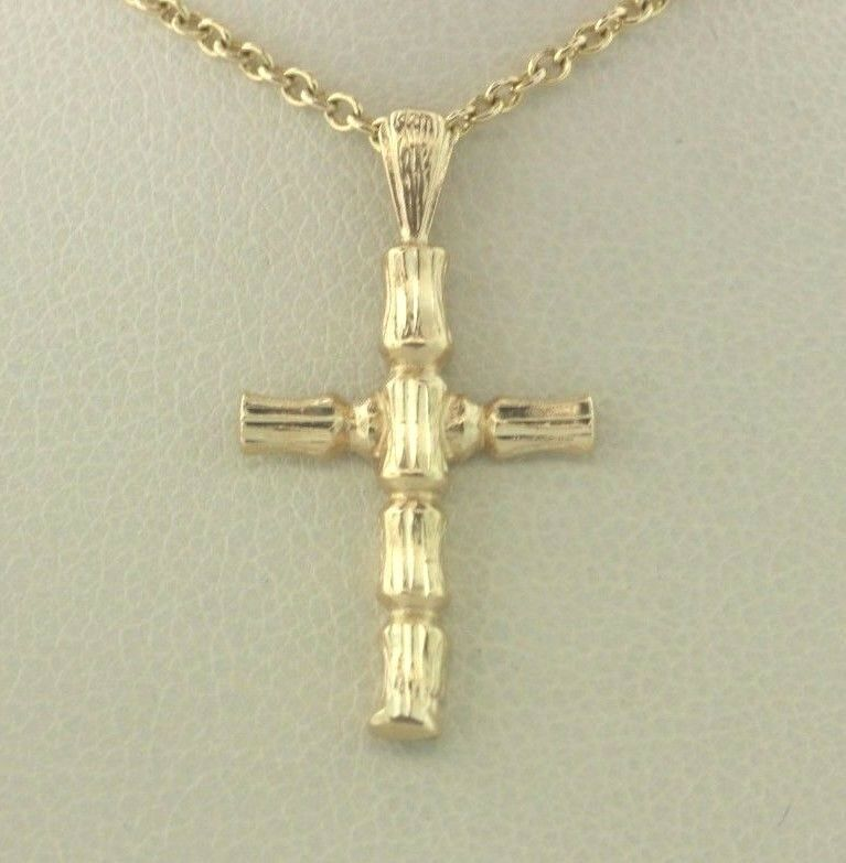 bf7be90b2ef20 Bamboo Textured gold Yellow 14K Cross Style Pendant Charm ...