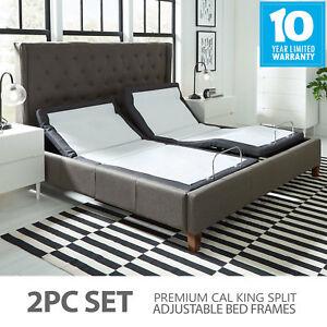Premium Split Cal King Adjustable Bed Frame W Pillow Tilt Massage