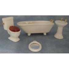 Dolls House Miniature 1:12 Scale 4 Piece Ceramic Bathroom Set Accessory DF100 *