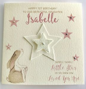 Image Is Loading Personalised Watercolour Bunny 1st Birthday Card Daughter Granddaughter