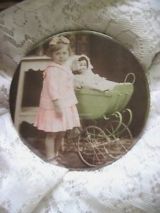 Sweet Antique Celluloid On Tin Photograph~Girl w/Doll & Carriage~Mirrored Back