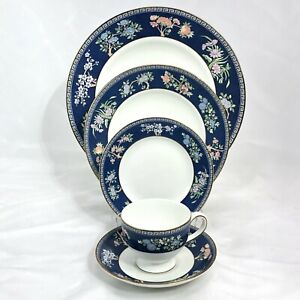 5 PC PLACE SETTING WEDGWOOD BLUE SIAM DINNERWARE DINNER SALAD PLATE BOWL CUP