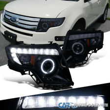 Glossy Black Ford   Edge Tinted Halo Led Projector Headlights Headlamps Pair