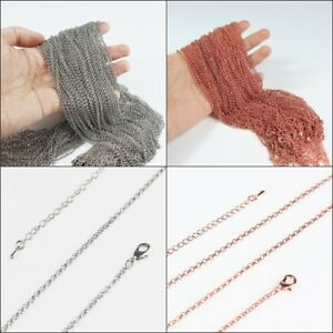 Silver-Antique-Brass-Rose-Gold-2mm-Thin-Circle-Chain-Necklace-20-034-Adjustable