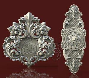2 3D STL Models Door Decor CNC Router Carving Machine Artcam aspire Cut3D