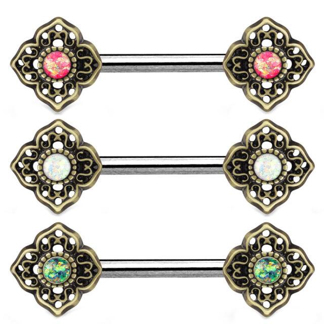 PAIR Opal Glitter Center Tribal Flower Nipple Rings Shield Barbells 14g 14 gauge