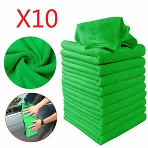 10pcs-Green-Microfibre-Cleaning-Auto-Car-Detailing-Soft-Cloths-Wash-Towel-Duster