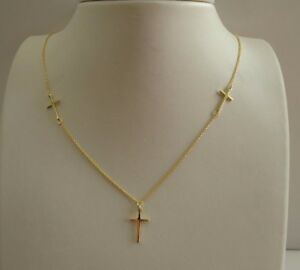 THREE-CROSS-NECKLACE-PENDANT-14K-YELLOW-GOLD-OVER-925-STERLING-SILVER-18-039-039