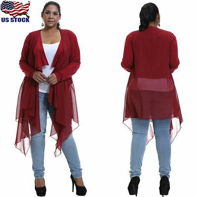 US Stock Womens Plus Size Long Sleeve Hooded Ladies Cardigan Zip Up Jacket Coat