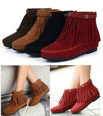 Womens Faux Suede Ankle Boots Flat Pull On Fringe Tassels Moccasin Boots Shoes #