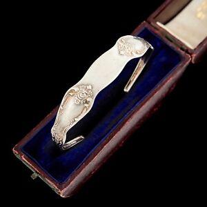 Antique-Vintage-Art-Deco-Sterling-Silver-Wm-A-Rogers-Floral-Spoon-Cuff-Bracelet