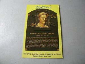 Bobby Doerr Boston Red Sox Autographed Gold HOF Plaque Postcard W/COA