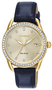 Citizen-Eco-Drive-LTR-Women-039-s-Crystal-Accents-Gold-Tone-37mm-Watch-FE6112-09P