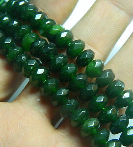 """New 8x12mm Faceted dark Green Emerald Rice Loose Beads Gemstone 15/"""""""