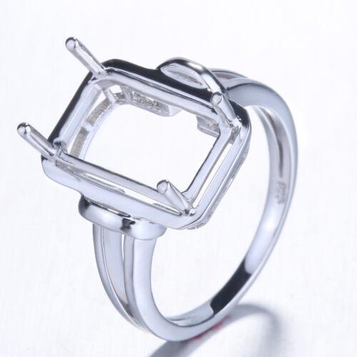Silver Semi Mount Fiançailles Mariage fine Emerald Ring polonais Setting 13X10MM