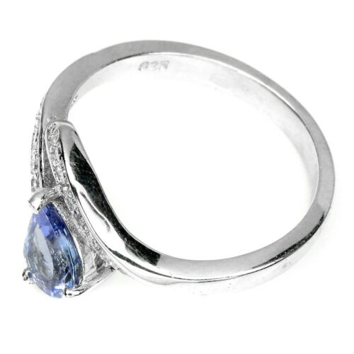 Poire 7x5m Bleu Tanzanite CZ 14k Or Blanc Plaque 925 Sterling Silver Ring Taille 7