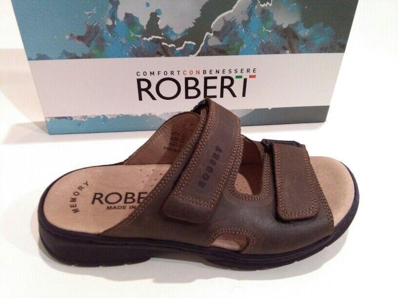 ROBERT 03010 Marroneee ciabatte sandali uomo strappi pelle 100% italia casual .,  | Apparenza Estetica  | Gentiluomo/Signora Scarpa