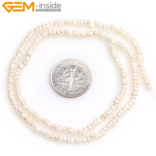 """Minuscule Bouton Freeform White Freshwater Pearl Jewelry Making Beads 15/"""" GEM-LPS"""