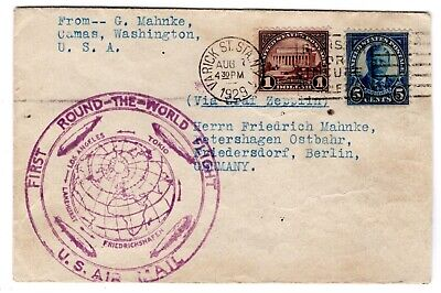1931 Germany Graf Zeppelin picture postcard Cover to USA LZ 127 # C40 1st SAF | eBay