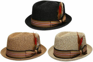 Fedora-Pork-Pie-Straw-Hat-w-Striped-Band-and-Removable-Feather-Summer-Cool-Hat