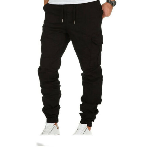 Work Pants Mens Chino Joggers Casual Elasticated Waist Cargo Trousers Bottoms