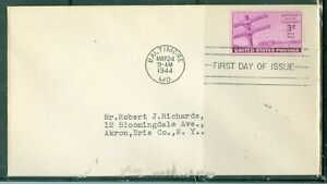 US-FDC-924-CENTARY-OF-THE-TELEGRAPH-CANCL-MAY-24-1944-BALTIMORE-MD-ADDR