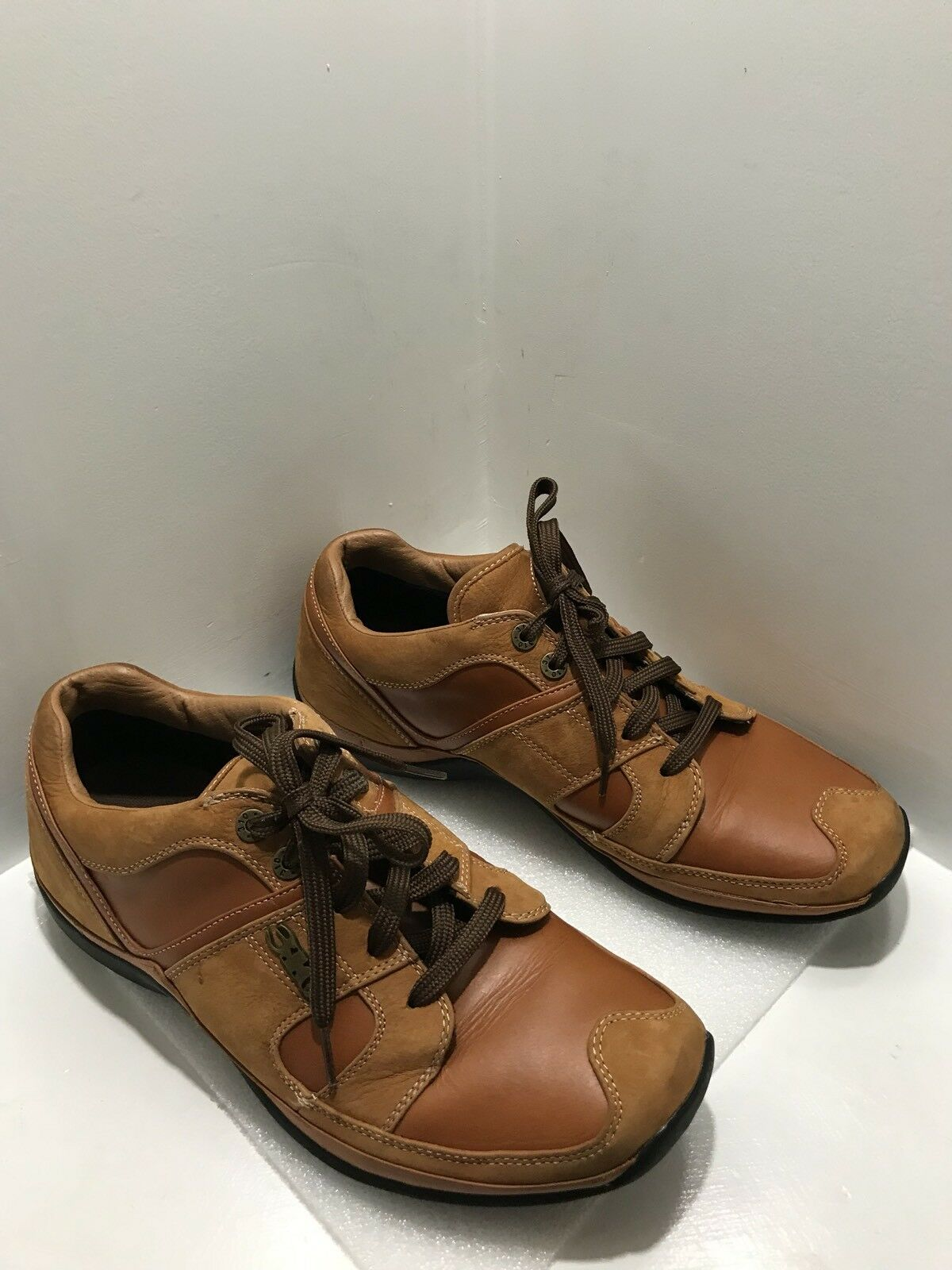310 Motoring Cognac Leather/Suede  Lace-up Two-Tone Shoes Size 12