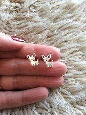 FREE GIFT BAG Animal Dog Silver Plated Stud Earrings Chihuahua Puppy Jewellery
