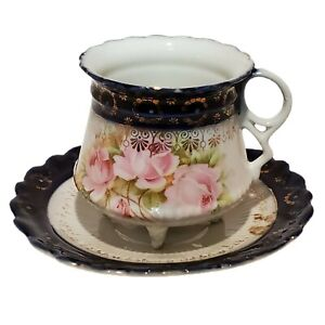 Antique German Cobalt Blue & Gold with Pink Roses Tea Cup and Saucer, footed