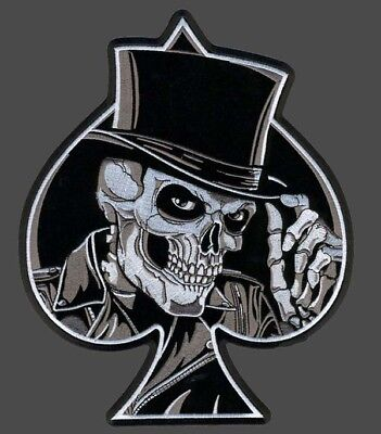 TOP HAT SKULL ACES EMBROIDERED 4 INCH MC IRON ON BIKER PATCH