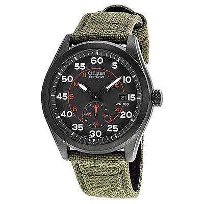 Citizen Eco Drive Black Dial Green Nylon Strap Mens Watch BV1085-22H
