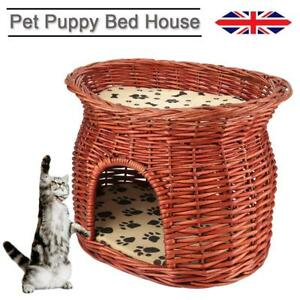Wicker Willow 2 Tier Pet Bunk Bed Basket Cat Kitten Puppy Small Dog