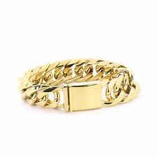 fd4459382a825 Solid 14k Yellow Gold Finish Stainless Steel Miami Cuban Link Chain ...