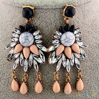Retro Womens Crystal Rhinestone Flowers Dangle Studs Earrings Fashion Jewelry