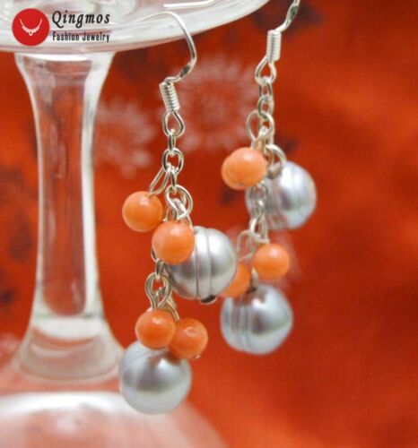 10-11mm Potato Gray Natural Dangle Pearl Earring for Women 5-6mm Pink Coral e553