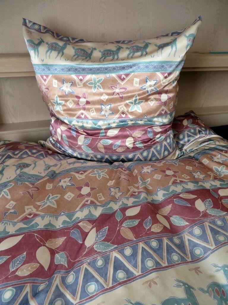 Biancheria Biancheria Biancheria da letto lucentezza satinata Satin poliestere raso con motivo toni naturali dimensioni 135x200 cm 7a5955