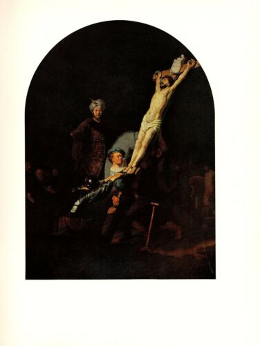 """1967 Vintage REMBRANDT /""""THE RAISING OF THE CROSS/"""" COLOR offset Lithograph"""