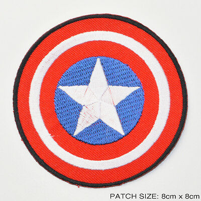 "CAPTAIN AMERICA - 3.5"" Movie / Comic Marvel Iron-On Embroidered Patch!"