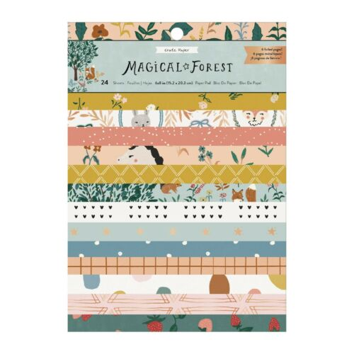 24 24 Designs FOIL ACCENTS Crate Paper MAGICAL FOREST 6x8 PAPER PAD Sheets