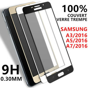 samsung galaxy a3 a5 a7 2016 2017 vitre verre trempe film protection cran full ebay. Black Bedroom Furniture Sets. Home Design Ideas