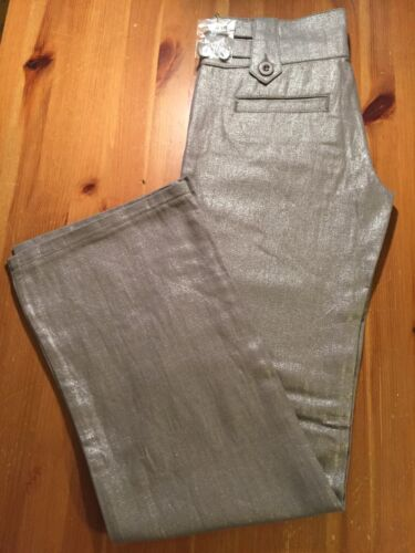 NEW JUNIORS PARIS BLUES KHAKI PANTS Bootcut Linen Dressy Shimmer Jeans Sz S