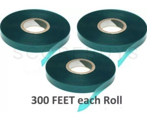 """3 Rolls 300 FEET X 1//2""""  Plant Tie Tape Stretch Green Garden Stake Vinyl"""