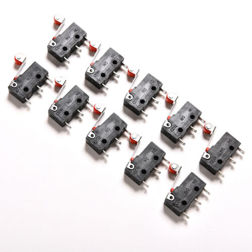 10PCS Mini Micro Switch with Roller Limit Switch Snap Action 3 Pins 5A WQ