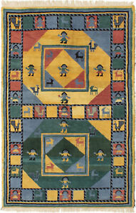 Hand-knotted-5-039-1-034-x-7-039-9-034-Indian-Gabbeh-Gabbeh-Tribal-Wool-Rug